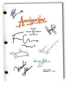 apocalypse now 1979 movie script signed