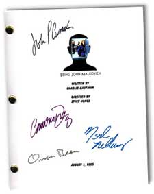 being john malkovich autographed movie script