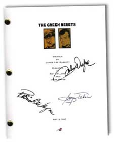 the green berets signed script