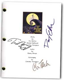 nightmare before christmas signed script