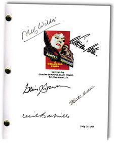 sunset blvd  signed script