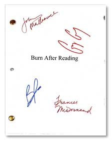 burn after reading autographed movie script