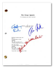 the king's speech  signed script