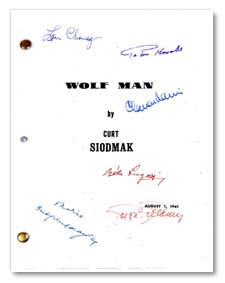 the wolfman 1941  signed script